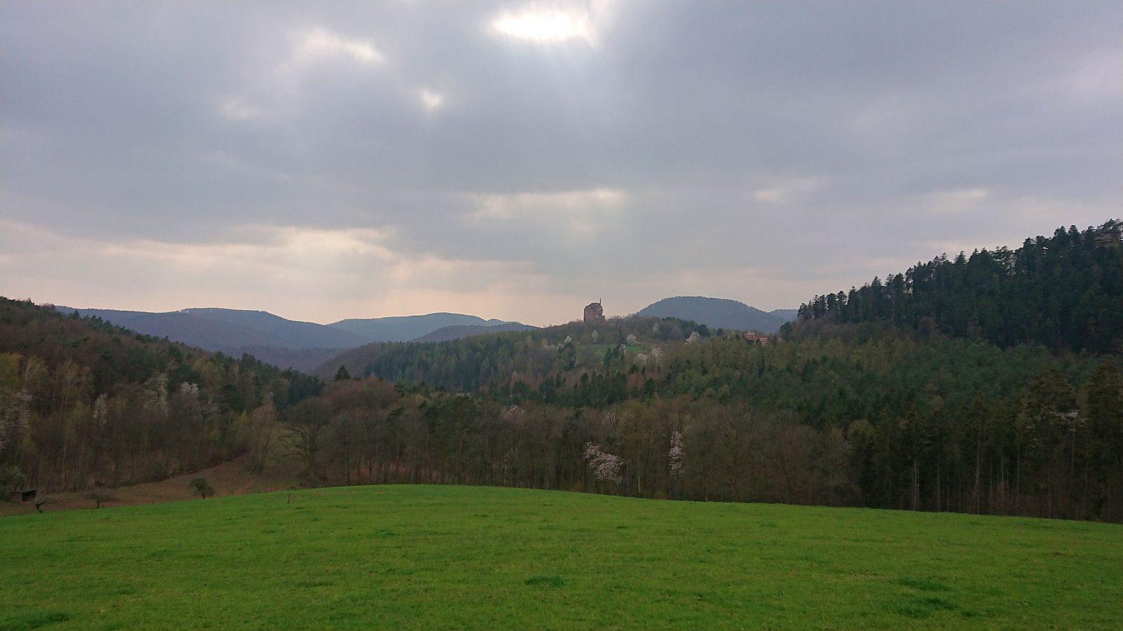 Das war das Abschlusspanorama am Gimbelhof mit der Burgruine Fleckenstein im Hintergrund.